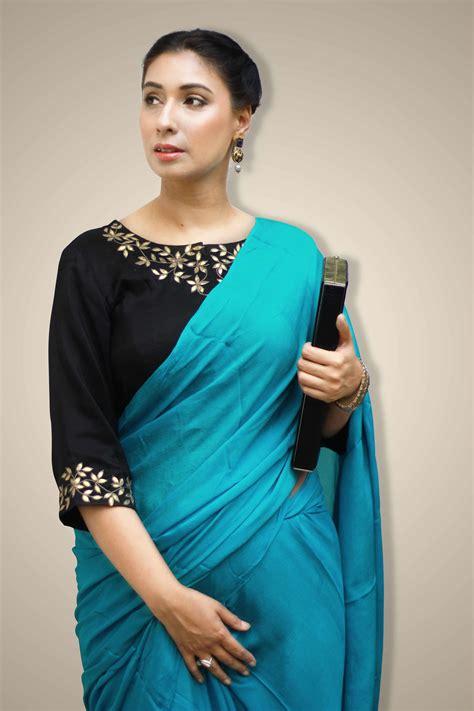 plain saree with designer blouse plain saree designer blouse buy turquoise blue saree