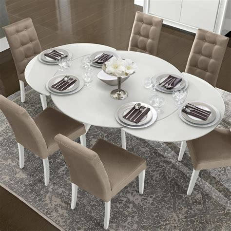 Extended Dining Room Tables by Caligula White High Gloss Glass 5 Extending