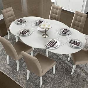 Bianca White High Gloss & Glass Round Extending Dining Table 1 2 1 9m : F D Interiors Ltd