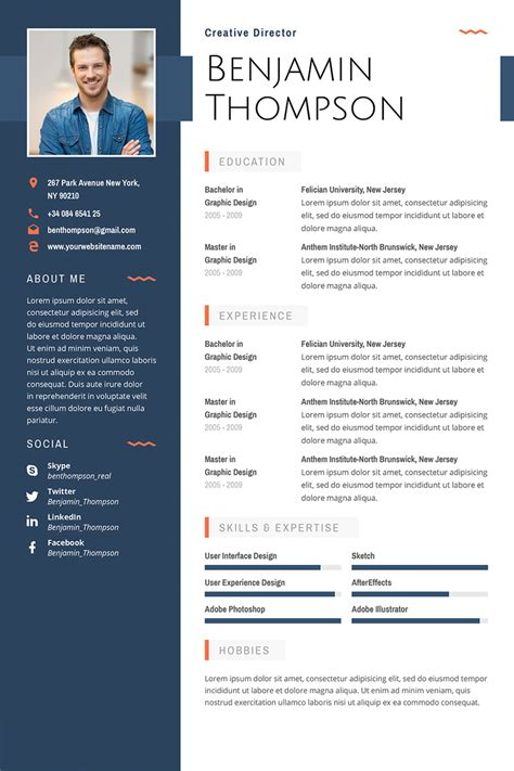 premium benjamin thompson multipurpose elegant resume
