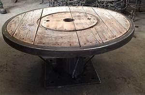 Touret Bois Fer Pour Salon Type Loft Industrial Table