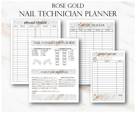rose gold nail technician small business planner nail