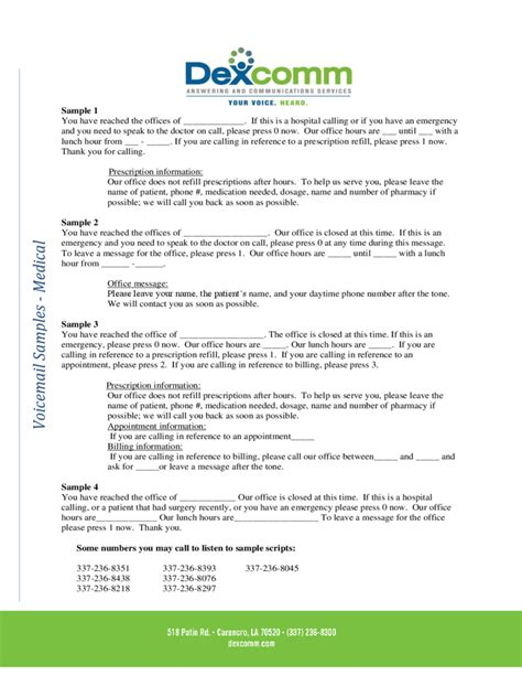 voicemail message   templates   word excel