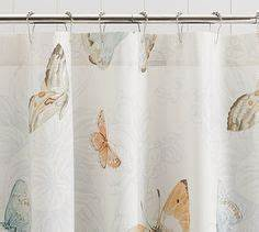 bathroom decor little girl39s pink blue purple gray With butterfly shower curtain pottery barn