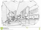 Lobby Sketch Perspective Interior Illustration sketch template