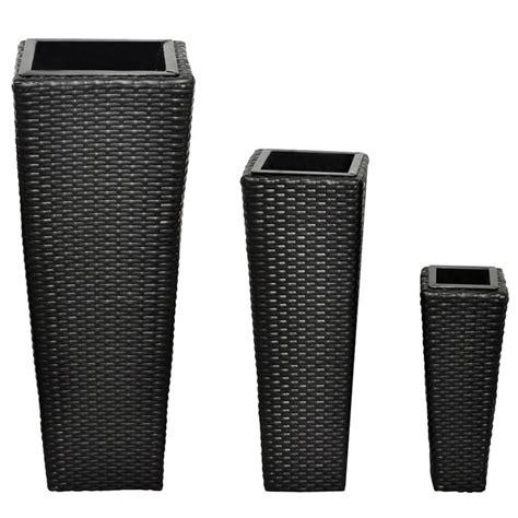 vasi in rattan sintetico vasi fioriere moderni in rattan nero set da 3 vasi per
