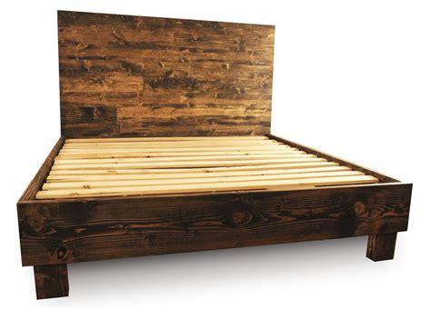 rustic wood platform bed frame  headboard  pereidarice