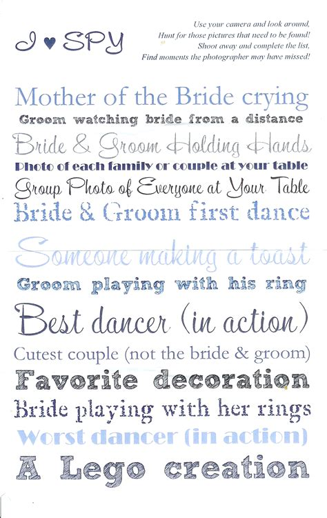 Dorable Wedding I Spy Template Elaboration - Resume Ideas - namanasa.com