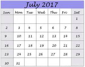 Monthly Printable Calendar July 2017