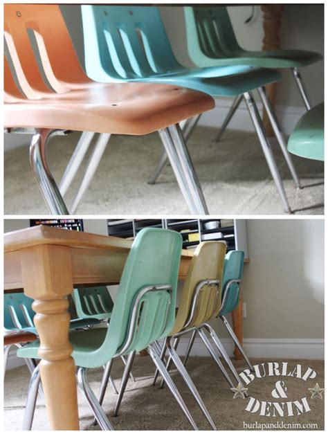 vintage schoolhouse chairsburlap denim