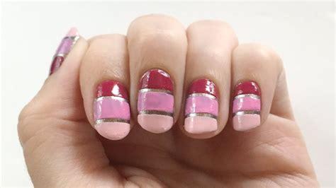 nageldesign rosa rosa nageldesign mit silbernen streifen seni nageldesign