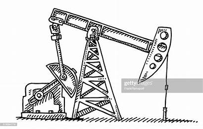 Pump Oil Jack Drawing Industry Vector Well