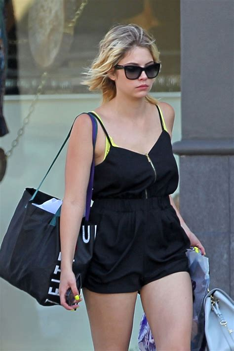 ashley benson  shorts leaving urban outfitters  los