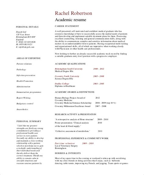sample academic resume  examples  word