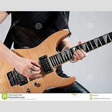 Female Guitarist Playing Electric Guitar Stock Photo  Image Of Pants, Musical 23302542