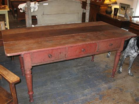 antique harvest table for collectivator great three drawer harvest table sold 7475