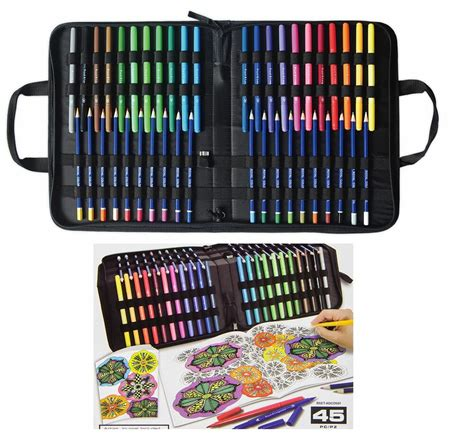 45 pc adult coloring kit in carry case double tip markers