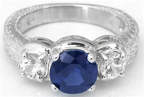 present future ornate engraved sapphire engagement