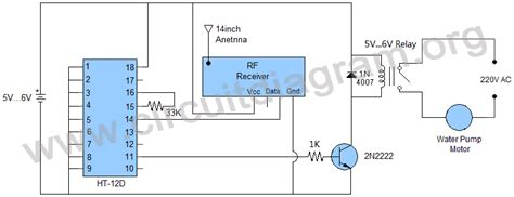 Wireless Water Pump Motor Controller Circuit Diagram