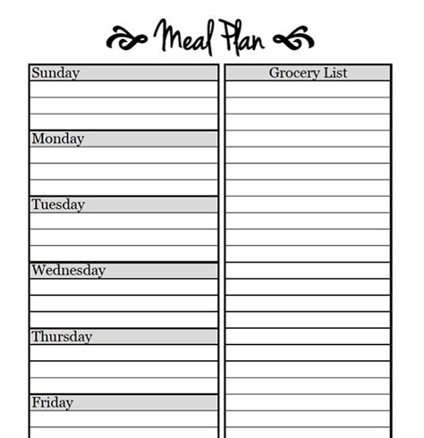 printable meal planning templates  simplify  life