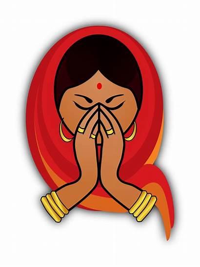 Namaste Clipart Indian Welcome Woman Hindu Transparent