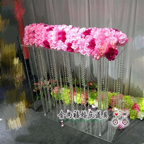 acrylic crystal flower stand wedding table centerpiece