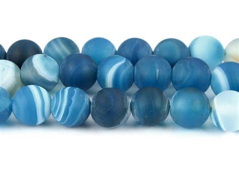 natuerliche streifen achat perlen kugel matte blau mm