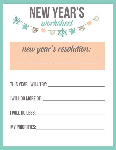 new year s resolution worksheet printable the best ideas