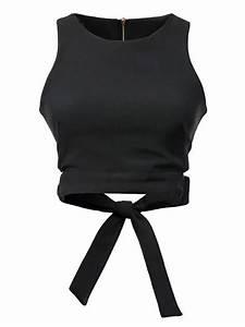Black Bow Tie Back Cut Out Crop Top Choies