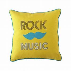 coussin en coton jaune 40 x 40 cm rock music maisons du With affiche chambre bébé avec livraison bouquet de fleurs en martinique