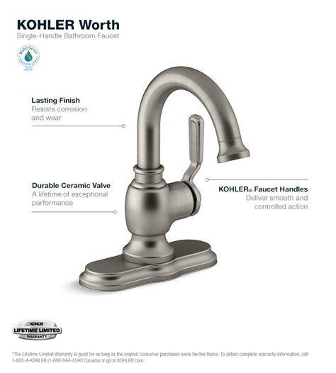 kohler worth single hole 1 handle bathroom faucet in