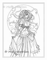 Coloring Dancer Gypsy Belly Pages Printable Molly Stamp Harrison Digital Boho Sketch Fantasy Sheet Witch Bohemian Sheets Fairy Open Template sketch template