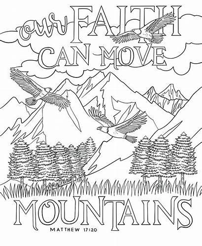 Coloring Adults Mountains Printable Smoky Trees Faith