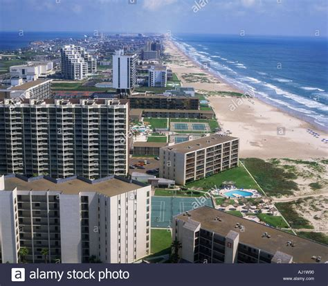 aerial view  south padre island beach frontage
