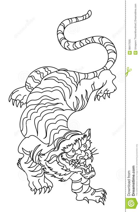 Tiger Vector Tattoo Design On White Background. Stock Vector - Illustration of power, color