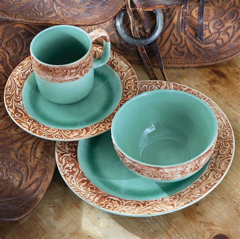 Kitchen Decor Clearance by Western Scroll Turquoise Dinnerware Set 16 Pcs