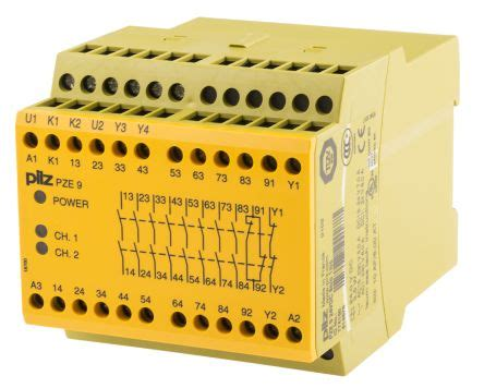pze 9 24vdc 8n o 1n c pnoz x safety relay dual channel