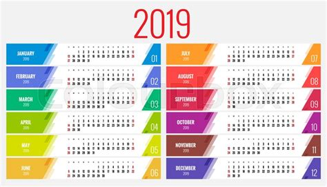 calendar planner year vector stock vector colourbox