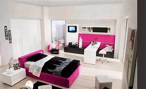 Chambre Ado Fille 12 Ans : chambre noir blanc et rose ~ Voncanada.com Idées de Décoration