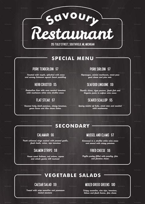 chalkboard restaurant menu design template  psd word