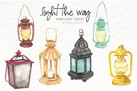 watercolor clip art lanterns illustrations creative
