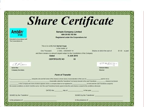 Shareholding Certificate Template