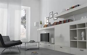 Wonderful, White, Living, Room, Interior, Ideas