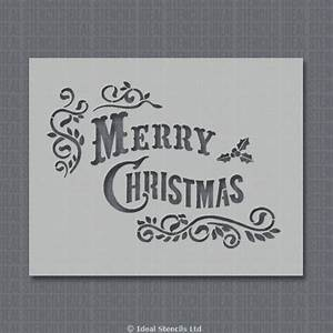 Vintage merry christmas stencil for Merry christmas letter stencils