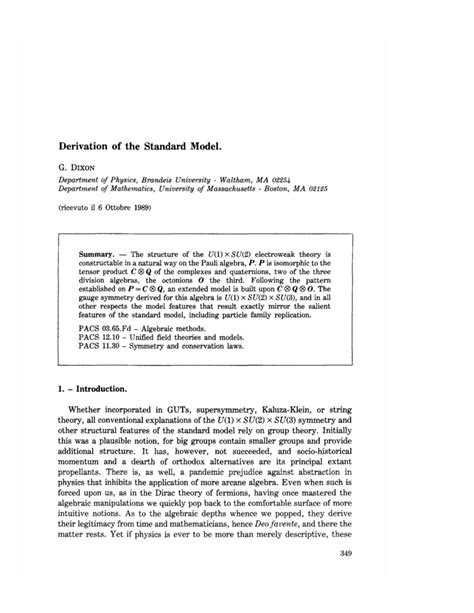 (PDF) Derivation of the standard model