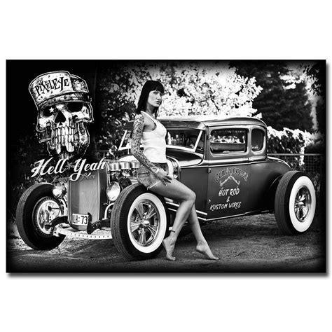 Hot Rod Muscle Car Art Silk Fabric Poster Print Classic