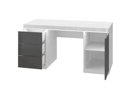 bureau blanc et gris bureau loic ii leds 1 porte 3 tiroirs blanc gris