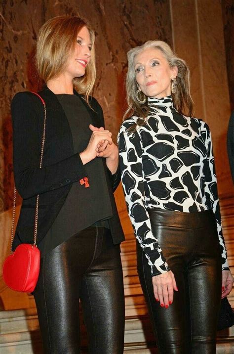 Various Cougar And Gils In Leather Boots Skirt Jacket Or