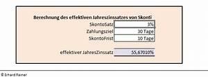 Skonto Berechnen Beispiel : effektiver jahreszins skonto erhard rainer ~ Themetempest.com Abrechnung
