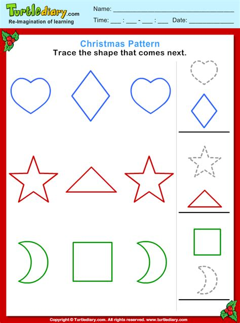 christmas pattern trace shape worksheet turtle diary